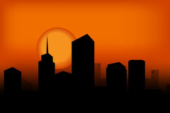 Sunset 15. Kind of Urban Art new york city in the sunset between black and orange color Stock Photography