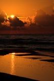 Sunset. On the Baltick Sea beach in Poland stock photo