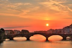 Sunset. Florence sunset over Arno river, Italy, (HDR Photo Royalty Free Stock Images