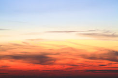 Sunset. View on the sky at sunset with intense red and orange hues stock photography