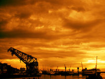 Sunset. At the port of Genova.Italy stock image