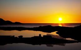 Sunset. Midnight sun in Gjesvaer in Norway stock photography