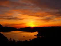 Sunset. Over a Norwegian lake Stock Images