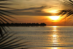 Sunset. At the tropical beach in Malaysia,with the silhouette of resort Royalty Free Stock Photo