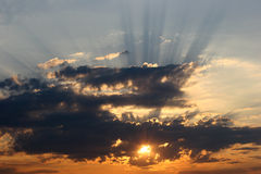 Sunset. With sunbeams Stock Photography