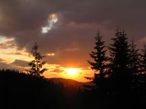 Sunset. In Carpathian mountains, ukraine Stock Photos