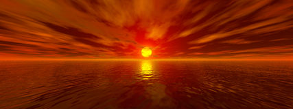 Sunset. Ocean Sunset. 3D render ocean sunset stock illustration