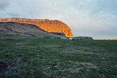Sunset. On farm in Asolfsskali, Iceland royalty free stock photography