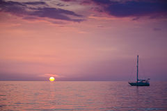 Sunset. Sailboat floating on andaman's sea during the sunset Royalty Free Stock Photography