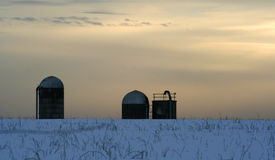 Sunset. In the Amish country, in the winter Royalty Free Stock Photo