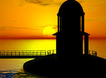 Sunset. A domed look-out, connected to the shore by a catwalk, stands silhouetted against the sky.  Computer Generated Image, 3D models Stock Photo