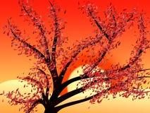 Sunset 2. Vectored tree by sunset stock illustration