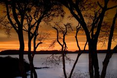 Sunset 2. Sunset on Gulf of Papagayo in Costa Rica Royalty Free Stock Photos