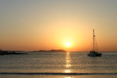 Sunset. Ibiza sunset from cafe del mar royalty free stock photography