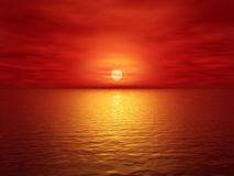 Sunset. Red sunset (3d render image Stock Photos