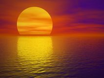 Sunset. Red sunset (3d render image Royalty Free Stock Photo