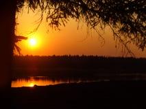 Sunset. Red- yelloe sunset on river Stock Photography