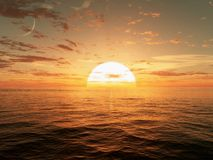 Sunset. CG image of a sunset with the moon rising in the background Royalty Free Stock Photography