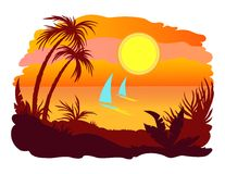 Sunset. Tropical sunset with palms and sails Royalty Free Stock Photography
