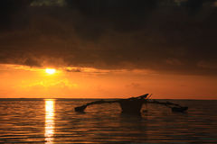 Sunset. Indian ocean and boat during sunset Stock Photos