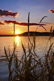 Sunset. A beautiful and colorful sunset by the lake Stock Photos