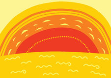 Sunset. Vector background of a beautiful sunset over the sea Royalty Free Stock Photo