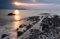 Sunset. On the sea with rocks at Licosa island, Italy stock photos