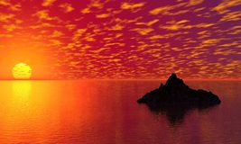 Sunset. Red sunset on a tropic beach . Vector illustration Stock Image