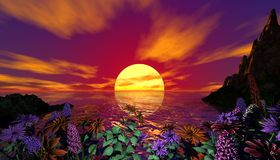 Sunset. With moutains and flowers Stock Photo