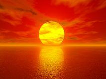 Sunset. Computer generated 3d image stock illustration
