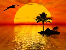 Sunset. Illustration about sunset, sea, and a palm tree royalty free illustration