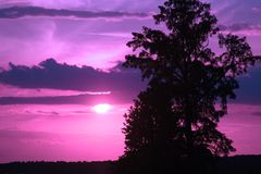 Sunset. A colored sunset in the middle of nature Stock Photo