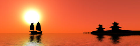 Sunset. Red sunset in southeast asia Stock Photography