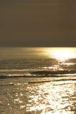 Sunset. Gold orange sunset on beach Baltic Sea in Poland stock photo