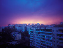 Sunset. Beautiful crimson sunset over a city. Kyiv, Ukraine Stock Image