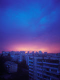Sunset. Beautiful crimson sunset over a city. Kyiv, Ukraine Royalty Free Stock Image