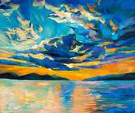 Sunset. Original oil painting of beautiful sunset over ocean(sea)  on canvas.Modern Impressionism Stock Photography