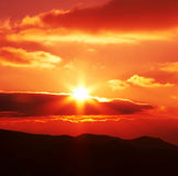 Sunset. Scene in mountain for background Stock Photos