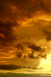 Sunset. Sky and clouds in last beams of the sun Royalty Free Stock Photo
