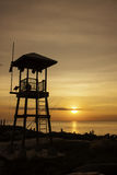 Sunset. In front of beach observation Royalty Free Stock Photography