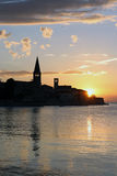 Sunset. Over the small seaside town Stock Images