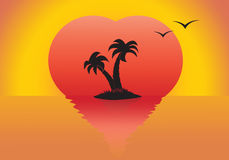 Sunset. Silhouettes of palm trees and seagulls at sunset the sun in the form of heart stock illustration