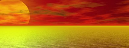 Sunset. Beautiful panoramic sunset over a sea Royalty Free Stock Image