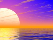 Sunset. Unusual sunset over the sea Stock Image