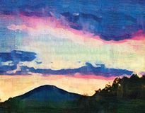 """Sunset. Artwork """"Sunset"""" /oil painting, canvas Royalty Free Stock Photography"""