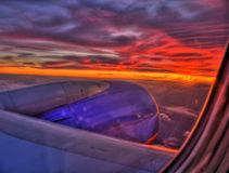 Sunset at 33,000ft Royalty Free Stock Photos