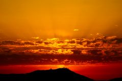 Sunset. Warm cloudy sunset in French Riviera (Provence Royalty Free Stock Photo