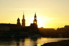 Sunset. Beautiful Sunset above the skyline of Dresden Stock Photo