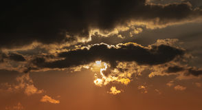 Sunset. For gloomy autumn clouds Royalty Free Stock Images