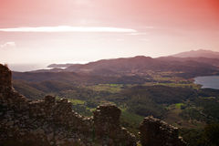 Sunset. View at sunset from the ancient castle Stock Photo